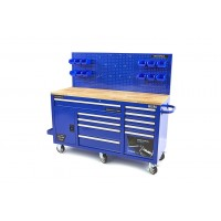 Carro/Banco de Trabajo Acero Inox. Azul 158 cm